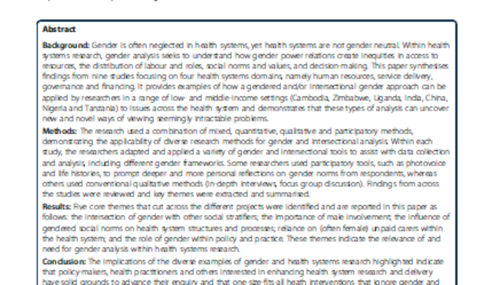 Front page of paper on gendered health systems