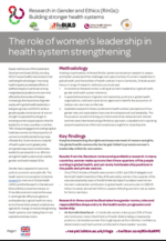 Cover of brief on Leadership, women and the health system