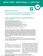 Women leadership gender equity health systems cover
