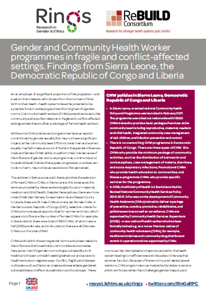 Gender and CHWs in Liberia, Sierra Leone and the DRC