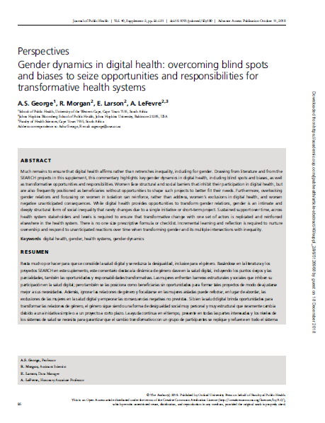 Gender dynamics in digital health