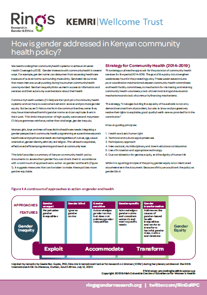 Front page of the community health in Kenya brief